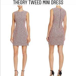 NEW Theory Beacon Pink Tweed Sleeveless Dress 0
